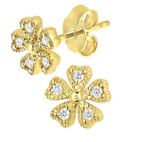 citerna Fleur Or 9carats avec pierres–Oxyde de zirconium–Boucles d'Oreilles Clous Femme – Doré