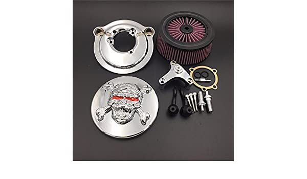 Htt Moto Chrome T/ête de mort Zombie avec croix Bones Syst/ème de filtre dentr/ée dair Cleaner Kit pour Harley Davidson 2007-later XL Sportster 1200/ Nightster 883/ Xl883/ Low Xl1200l Seventy Two Quarante huit