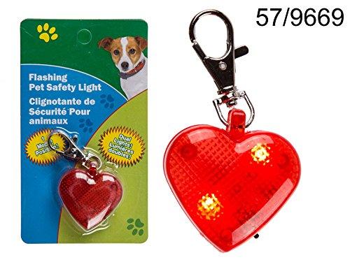 LED Leucht-Herz mit Karabinerhaken für Hunde-Halsband inkl. Batterien