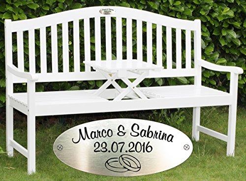 Hochzeitsbank Landhausstil mit Personalisierung - silberne Gravurplakette mit Namen & Datum - romantisches Hochzeitsgeschenk für Paare (Weiß lackiert)