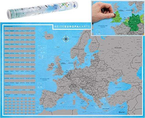 blupalu I XXL Europakarte zum Rubbeln mit Länder-Flaggen I Rubbel-Chip I Landkarte zum Freirubbeln I die Besten Sehenswürdigkeiten I 89 x 59 cm | Deutsch (12x8 Wandbild)