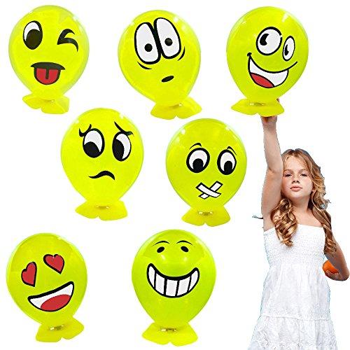 � - 12 x Party Ballon Strolche ┃ NEU ┃ Happy Face ┃ Kindergeburtstag ┃ Mitgebsel ┃ Emoji Party ┃ 12 Stück ()