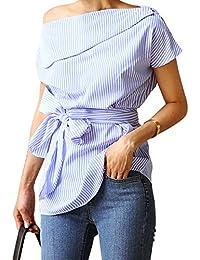 Young17 Blouse Femme à Epaules Dénudées Manches Courtes Chemise Off-shoulder avec Nœud Papillon Rayuré Bleu