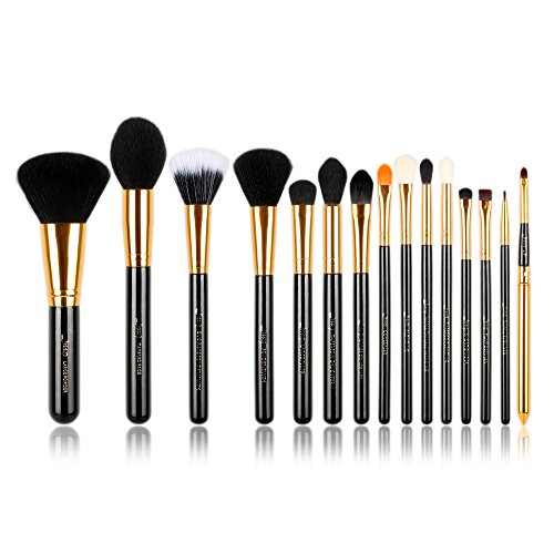 Jessup 15 pcs schwarz/gold Pro Make-up-Pinsel Make-up Pinsel Set Schönheit Cosmetics Puder...