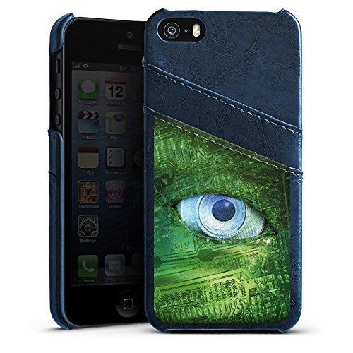 Apple iPhone 4 Housse Étui Silicone Coque Protection ¼il ¼il Technique Étui en cuir bleu marine