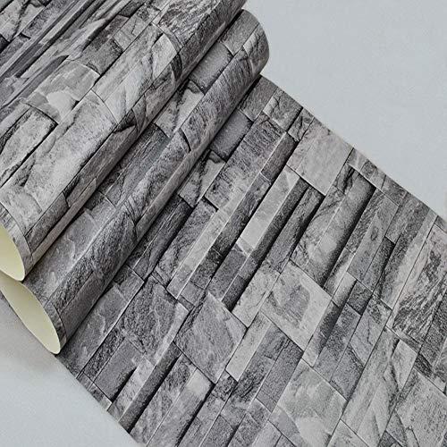 Wpcbaa rivestimenti murali della carta da parati di effetto della pietra di faux del rotolo della carta da parati del muro di mattoni di grey black