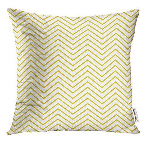 Dekokissenbezug Graphic Thin Yellow Zig Zag Pattern Chevron Decorative Pillow Case Home Decor Square 18x18 Inches Pillowcase Pattern-thin Hals