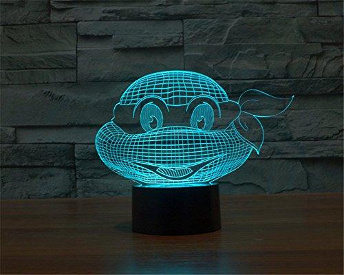 SmartEra® Die neue 3D abstrakte visuelle optische Täuschung Teenage Mutant Ninja Turtles Leiter Porträt Berühren Schalter 7 Farbwechsel Nachtlicht LED (Ninja Mutanten Turtles)