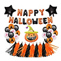 LANWANGJI Halloween Decoration Banners Garland Balloons With Bat Ghost Pumpkin Bunting For Kid Halloween Party