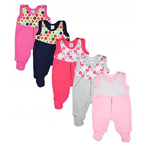 TupTam Baby Strampler mit Print Strampelanzug 5er Pack, Farbe: Mädchen, Größe: 56
