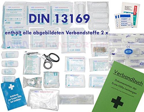 Komplett-Set Erste-Hilfe DIN 13169 EN 13 169 PLUS 1 für Betriebe mit Notfallbeatmungshilfe & Verbandbuch Stand 2016 incl.Alkoholtupfer + Pinzette
