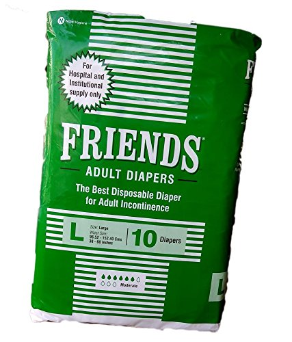 Friends Adult Diapers For Unisex – 10 Diapers (Large)