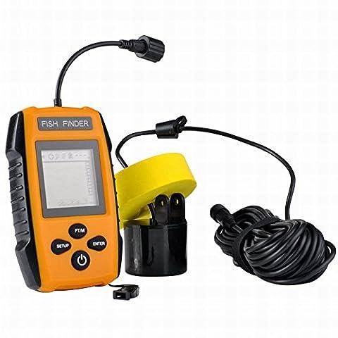 Lixintech Nouveau Détecteur de poissons portable en 2017, Détecteur de poissons portatif, Fishfinder Tackle Fishes avec transducteur de sonde à fil et LCD Dispaly Détecteurs de profondeur pour la