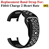 Taslar Replacement Accessory Sport Band for Fitbit Charge 2 Heart Rate (Black Grey)