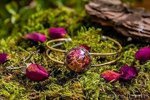 Bracelet p tales de roses rouges fleurs naturelles s ch es 20mm saint valentin bijou - Petales de roses sechees ...