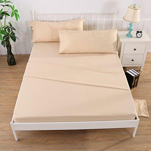 Bettwaren Bettwäsche 4 teilig, 1*Tagesdecke, 1*Bettlaken Spannbettlaken mit Gummizug, 2*Kissenbezüge,Bettgarnitur 4 Stückzusammen, Farbe Beige