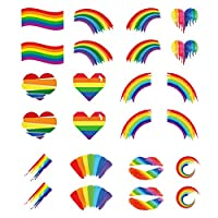 Rainbow Temporary Tattoo,24 Pcs Gay Pride Rainbow Stickers Body Paint 12 Shapes Tattoo Set for Parade Celebrations Summer Beach Party