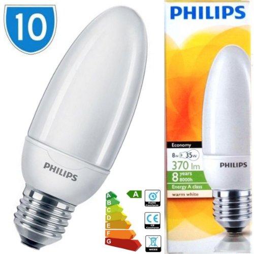 10 x Philips Energiesparlampe warmweiß, 2700 k, 8w = 35° W ES E27, CFL, Spirale, Kapsel Glühbirne Lampe -
