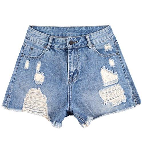 Dexinx pantaloncini di jeans elasticizzati strappati alla moda da donna jeans larghi e confortevoli a vita bassa retro pantaloni alla coscia casual blu 29