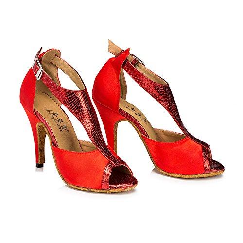 Ballo Latino Ladies 8cm Lamba Ballo Scarpe Red Da Scarpe Chanel Da Chagi Sala pqgpUY