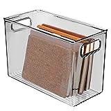 mDesign Caja organizadora con asas integradas - Organizador transparente de diseño atractivo -...