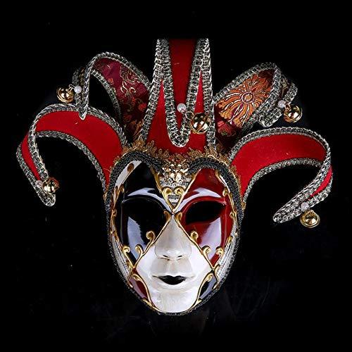 BHXUD Bemalte Halloween-Party-Party Maske Gehobene Venedig Damen Show Maske,Red