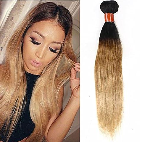 Mufly Tissage Extensions de Cheveux Brésilien Droit Liasses Cheveux Humains Vierge100% Noir/Blonde (12