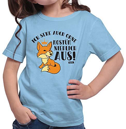 HARIZ  Mädchen T-Shirt Ich Sehe Auch Ohne Kostüm Niedlich Aus Fuchs Karneval Verkleidung Inkl. Geschenk Karte Himmel Blau 116/5-6 ()