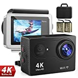 FITFORT 4K Sport Action Camera Waterproof Ultra HD WiFi Camcorder with Remote Control Wide View Angle, 100ft Underwater and Mounting Accessories Kit for Diving/Biking/Climbing/Swimming (Black)