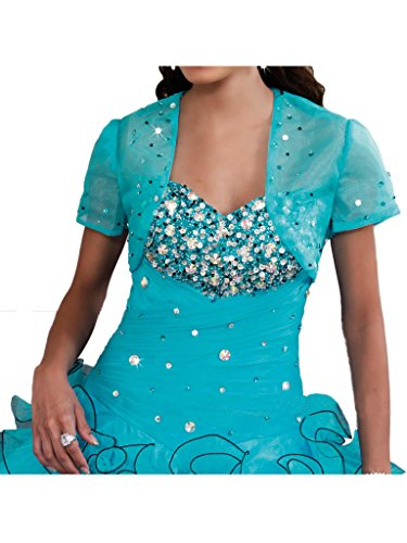Missdressy Damen Organza Satin Abendkleid Promkleid Falte Pailette Bodenlang Steine Blau
