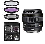 Canon Objektiv - EF 85mm 1:1.8 USM Teleobjektive für Spiegelreflexkameras + 3-Teiliges Filterset UV, FLD, CPL - Schwarz