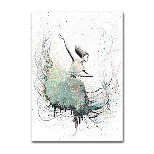 XWArtpic Ballett Poster Aquarell Abstrakte Ballerina Tanzdruck Leinwand Malerei Nordic Poster Und Drucke Wandkunst Dekor Hause 40 * 50 cm