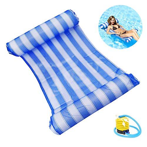 Comtervi Wasser Hängematte, Wasser Luftmatratze Aufblasbare Pool Schwimmbad Wasser Luftmatratze mit Kopf- und Fußteil für Schwimmbad Mesh Lounge