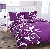 Pieridae Abigail Morado Set Completo de Funda de edredón de sábana bajera y fundas de almohada, diseño de flores, algodón poliéster, Morado, matrimonio