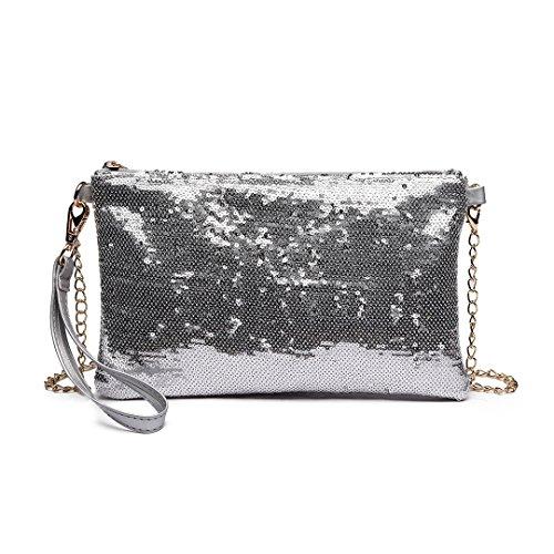 Miss LuLu Damen Handtasche Clutch Bag Unterarmtasche Party Hochzeit Abendtasche Kettentasche Umhängetasche glitzernd (LH1765-Silber)