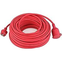 DECKEY Cable alargador de corriente 10M IP44 Alargador cable de Caucho de alta calidad Rojo (10 M)