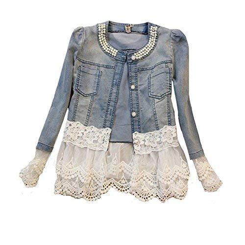 Damen Casual Denim Cute Spitze Short Jeans-Jacke Denim mit Jeansjacke (XXL, Denim)