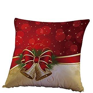 Fossrn Fundas Cojines 45×45 Navidad Decoracion Patrón de Campana Funda de Cojines para Casa Sofa Jardin Cama