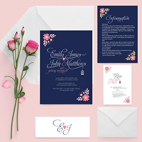 Invitación de boda paquete azul marino Coral Floral sobre tarjeta de textura Sentado incluido collar