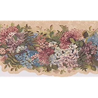 Blau Rosa Weiß Blumen auf Vine beige floral Tapete Bordüre Retro Design, Rolle 15'x 16,5cm