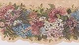 Bleu Rose Blanc Fleurs sur Vine Beige Frise papier peint Motif rétro Floral, rouleau...