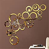 Bfeplfashion Home Accessories DIY Creative Decoration 3D Mirror Circle Wall Stickers - Gold