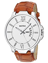 Matrix Analog White Dial,Brown Leather Strap Day Date Boys & Men Watch-DD-WH-LTH