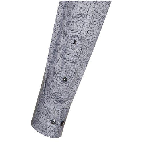 Seidensticker Herren Langarm Hemd Schwarze Rose Slim Fit Spread Kent Print Grau Gepunktet mit Piping 244830.36 Grau