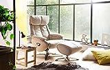 lifestyle4living Relaxsessel in beige mit Hocker, Gestell aus Metall, zum Relaxen und Entspannen vor dem Fernseher, Fernsehsessel