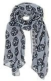 Tolles Tuch 'Totenkopf' in grau mit schwarzen Totenköpfen, superweich
