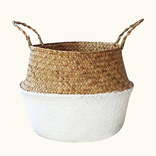 TwinkBling gewebter Blumenkorb, faltbarer Strohkorb mit Griff für die Aufbewahrung von Wäsche, Spielzeug, Pflanzen und Blumen, Stroh, weiß, S