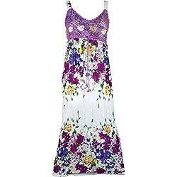 GURU-SHOP, Boho Vestido de Verano, Vestido Arrugado, Vestido de Playa Hippie Chic, Lila, Sintético, Tamaño:38, Vestidos Largos Midi