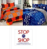 #2: STOP N SHOP Super Home Grace Cotton Combo Set Of 2 King Size Double Bedsheet With 4 Pillow covers