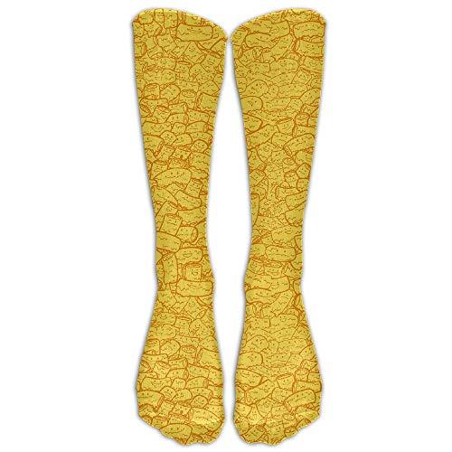 khgkhgfkgfk Outddor Mac And Cheese Gelb Lange Socken Athletic Sports Tube Für Männer & Frauen Laufen, Fußball, Fußball 19,68 Zoll -